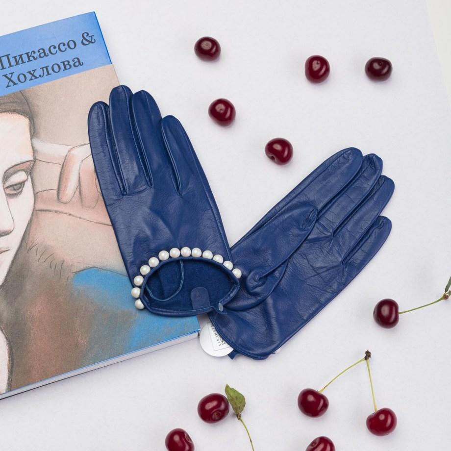 Kassia – Schafsleder Handschuhe mit Swarovski-Kristallen, dunkelblau