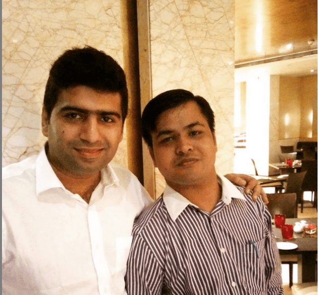 Aishwin Vikhona with Dipesh Garg (Founder, Truelancer)