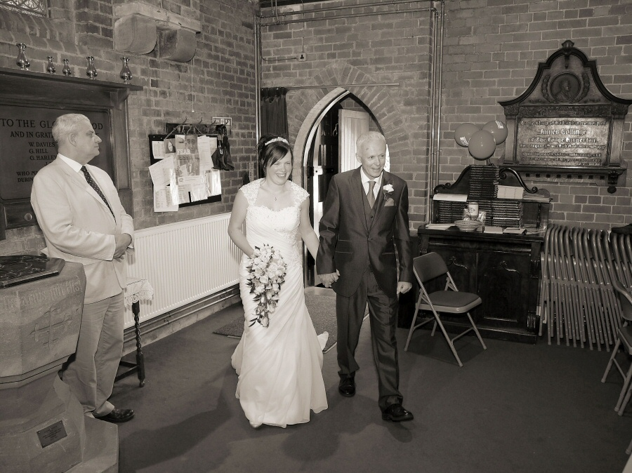 About to walk down the aisle - bride and Dad