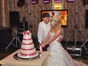 Cutting the cake for their guests to enjoy in the evening reception