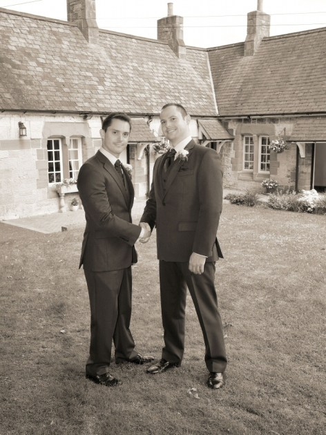 Groom and best man outside Ruthin Church