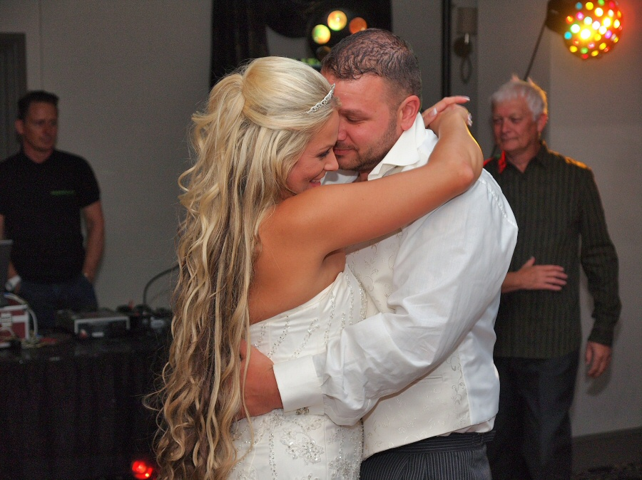 An intimate moment on the dancefloor for the newly weds.