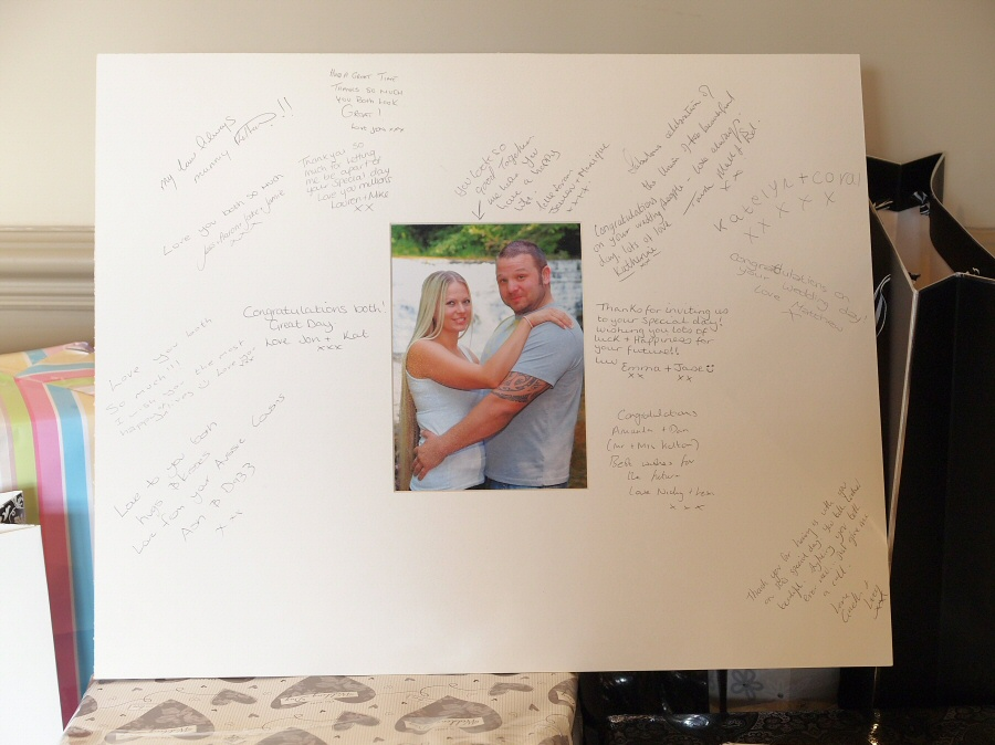 Guest Message Board filled in with loving words from family and friends