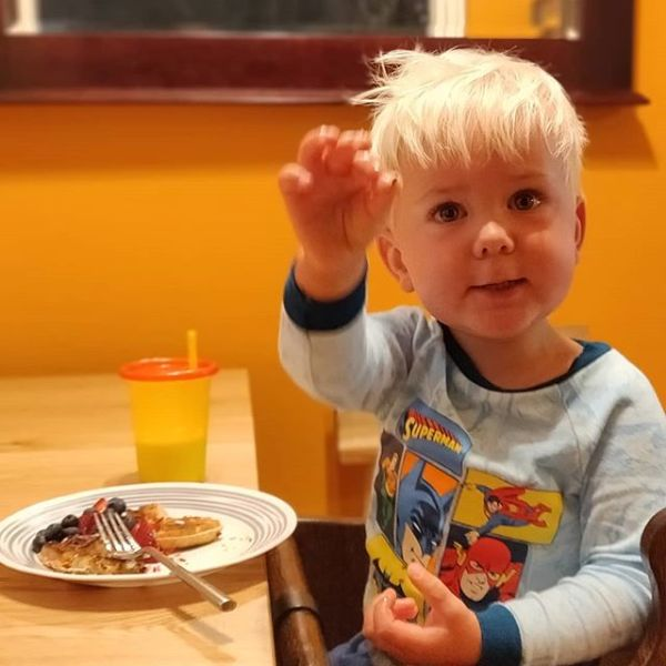 Happy 2nd birthday to the most loving, fun, adorable little boy we could've ever wished for, @edisoncurran. This is him feeding me the rainbow sprinkles off his waffle this morning. ️️️