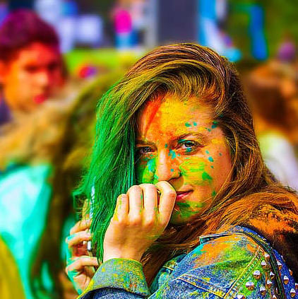 Girl DP with Holi Colors