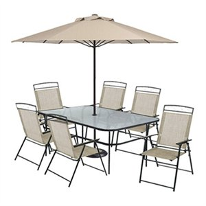arrowhead 8 pc sling patio dining set brown on brown table 6 chairs umbrella