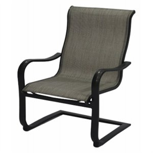 chesapeake sling c spring patio dining chair gray beige with pewter aluminum frame