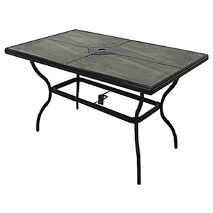 beaumont tile top patio dining table gray tiles with espresso aluminum frame 40 x 66 in