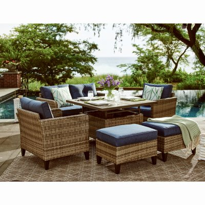 culebra 6 pc patio seating set wicker over steel adjustable height table