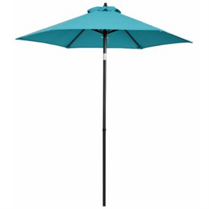 patio market umbrella teal fabric 7 ft
