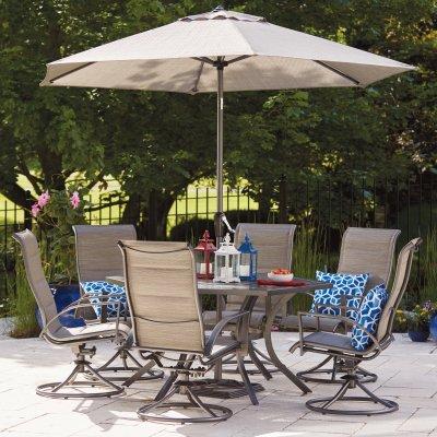 stonington 7 pc patio dining set 6 swivel rockers gray steel gray blue fabric