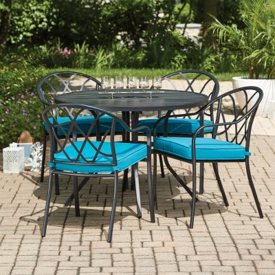 clearwater 5 pc patio dining set 4 stacking chairs slat top table black steel teal fabric