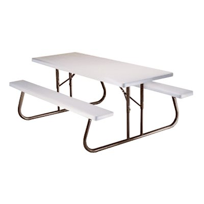 folding picnic table metal frame resin top benches 6 ft