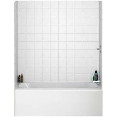 windsor bathtub surround tile kit white gloss 3 panel set