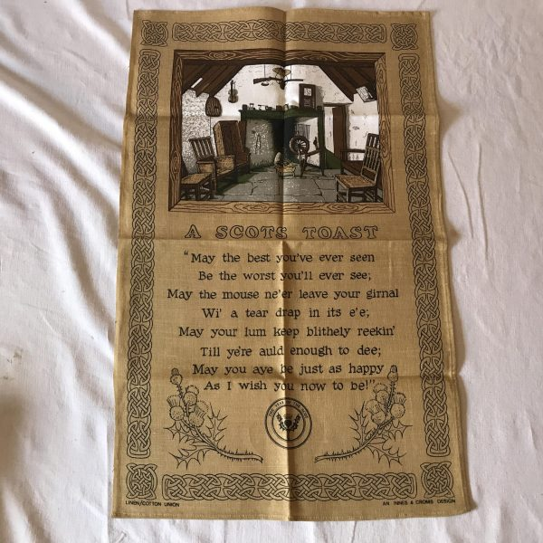 """Vintage Linen Kitchen Towel New Old Stock """"A Scpts Toast"""" Innes & Cromb Design"""