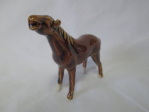 "Vintage Miniature Porcelain Horse Figurine 3 3/4"" across 3"" tall Great Detail"