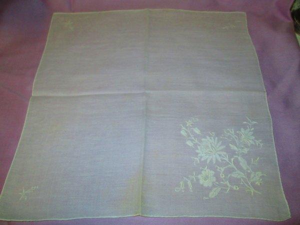 Vintage White Wedding Embroidered Hankie handkerchief Floral with ornate detail