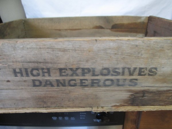 Vintage Wooden Dovetailed High Explosives Crate Box Dangerous Storage Military Collectible Display Garage Box