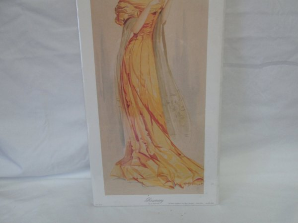 Vintage Yard long lithograph Rosemary by J Barrick Victorian Woman Gallery Graphics USA Litho New Old Stock in cellophane