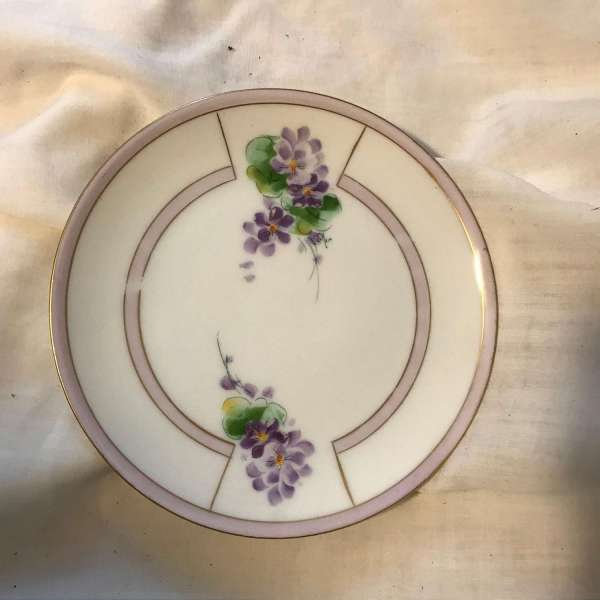 Antique Bavarian Hand Painted plate with lavender and purple flowers and green leaves bread or snack plate dining kitchen tortes