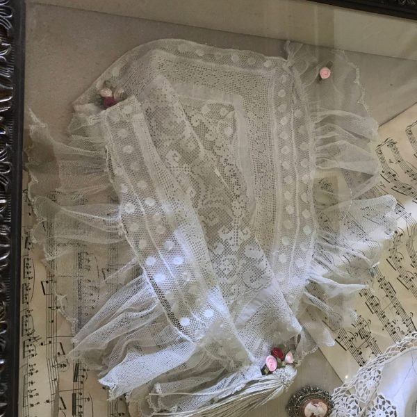 "Handmade Shadow Box Victorian Photo Music sheets Victorian pillowcase ""Threads of Silver among Gold"" with silver threads running though it"