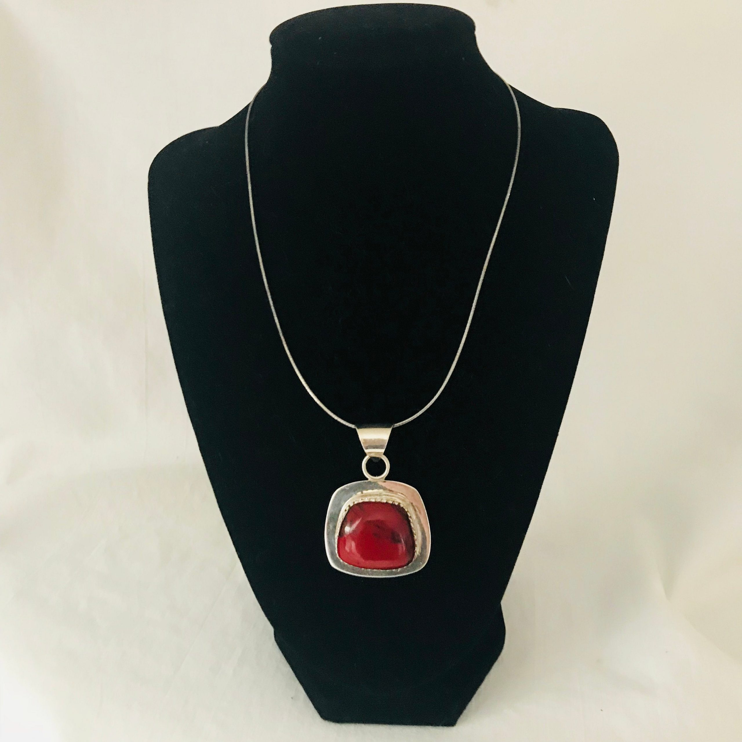 Sterling Silver Red Jasper Stone Square Pendant Drop 925 Stamped