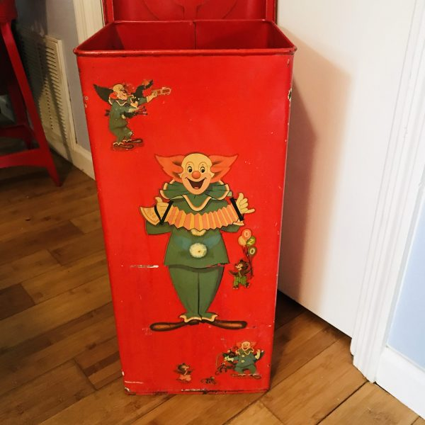 """Vintage Boxo the clown Metal Can heavy duty Hinged lid Red with Decals 1950's toys Legos Lincoln logs fireplace kindling box 25"""" tall 11x11"""