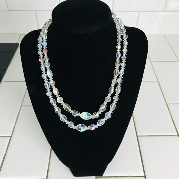 Vintage Necklace Austrian Crystal double strand beaded silver adjustable closure stunning colors clear with blue pink yellow lavender