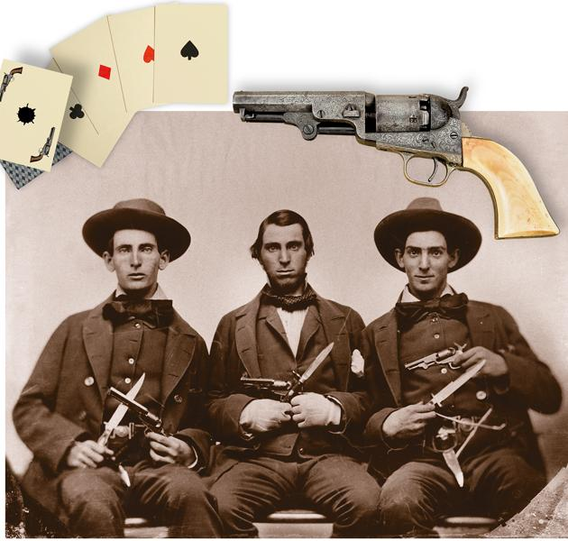 "The dapper ""gents"" in this period photograph all brandish 1849 Pocket Colts. The fellow at the left appears to be packing a five-inch-barreled '49er, while his two compadres each sport four-inch models like the one at top. Despite their looks, it's a bet that no one will call them nerds.– Courtesy Herb Peck, Jr. Collection; Four-inch"