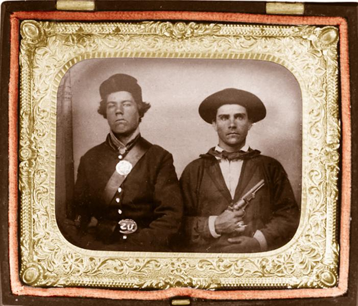 These Civil War Union infantrymen had their images recorded for the folks back home to admire. The man at left is holding his musket at the edge of the photo, while his companion in arms brandishes a personal '49 Colt, undoubtedly purchased out of his own funds ... possibly in answer to anyone making fun of his hat and tie!– True West Archives –