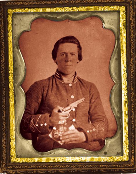 This Confederate first lieutenant undoubtedly relied on larger and more powerful weapons for much of his fighting, yet the .31 caliber, five-shot 1849 Colt would have served him well in close combat situations—giving him that extra edge when the big guns were empty.– True West Archives –