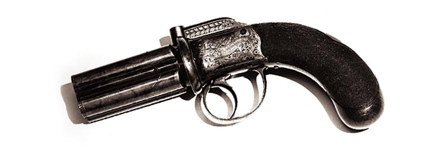 "Thousands of ""powder and ball"" Pepperbox pistols were carried in the pre-Civil War West, yet satirist Mark Twain was not a fan.– True West Archives –"