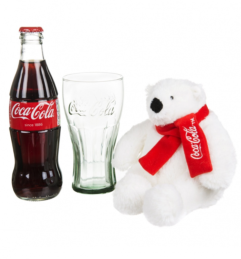 Coca Cola Christmas Polar Bear Bottle And Contour Glass