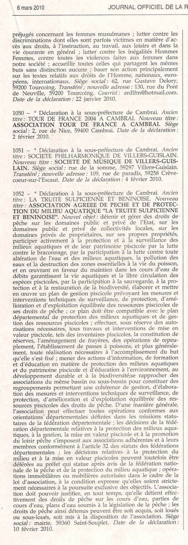 Inscription da l'AAPPMA au journal officiel