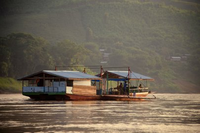 The boats plying the Mekong are a vital part of live on the river