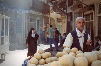 A fruit vendor in the streets of Diyarbakir, Turkey in July 2002.