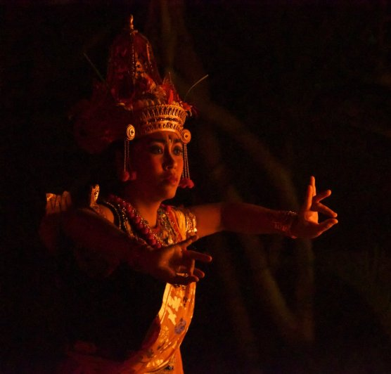 In Bali, traditional dance is central to the culture and often used to tell stories of the great Hindu epics. Here, a dancer takes part in a kecek dance depicting a battle from the Ramayana.