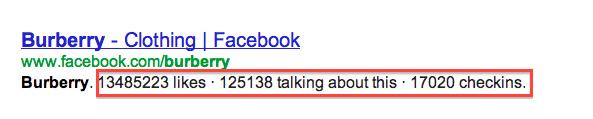 Facebook-siffror i Googles sökresultat