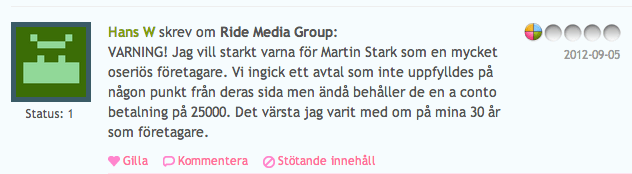 Ride Media Group – ett fall för konsumentverket?