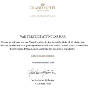 Jag bodde tydligen på Grand Hôtel i helgen..