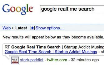 Google lanserar realtidssök