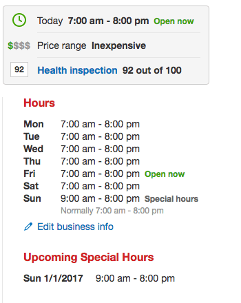 Special Hours on Yelp