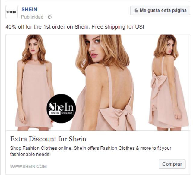 anuncio facebook shein