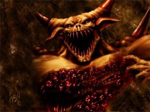 IMAGE OF A BLODDY DEMON FULL OF SOULS IT HAS 'EATEN'