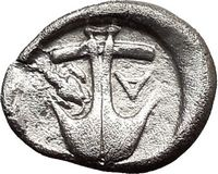 Authentic Ancient Silver Greek Coin with an Anchor