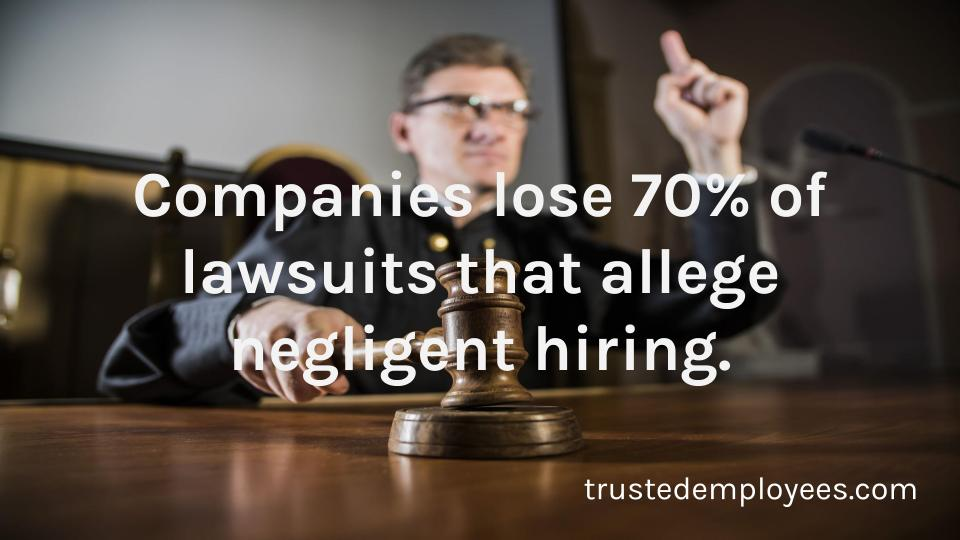Companies lose 70% of lawsuits that allege negligent hiring.