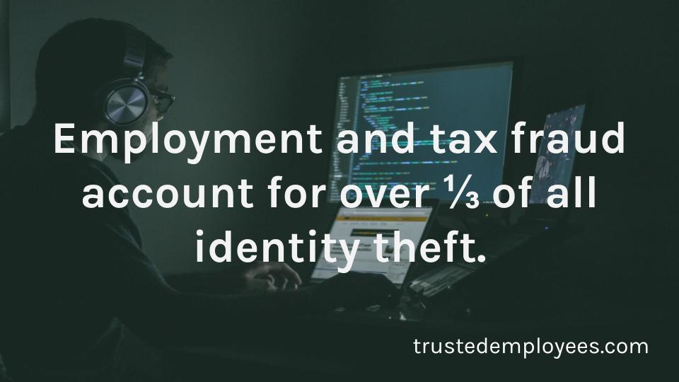 Employment and tax fraud account for over 1/3 of all identity theft.