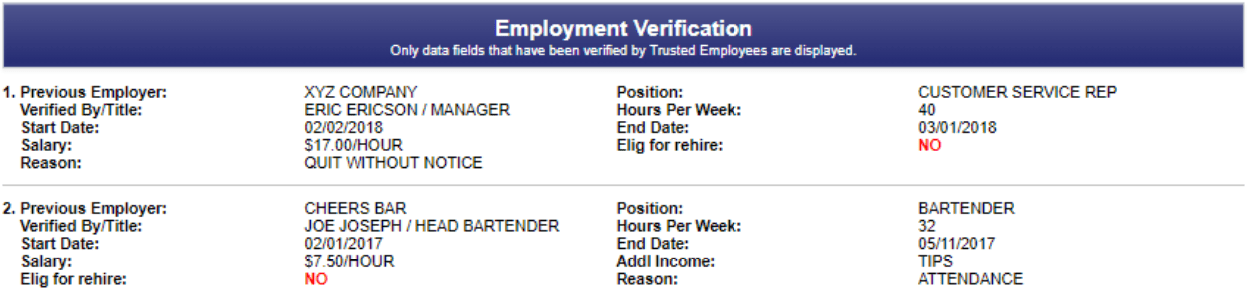 The employment verification section shows you an applicant's past job history.