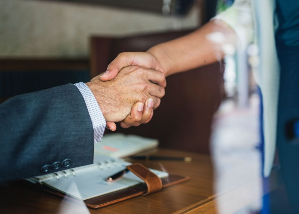 Two professionals shaking hands portraying business success