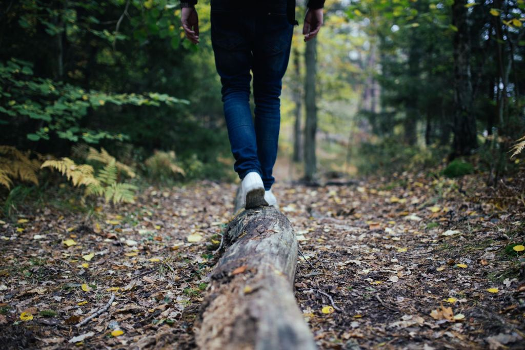 An individual walking on a path in a forest portraying a low-stress environment